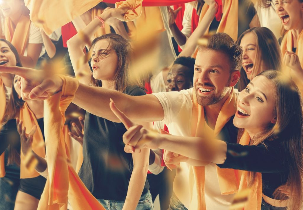 Euro 2020 fans cheer for their team victory.