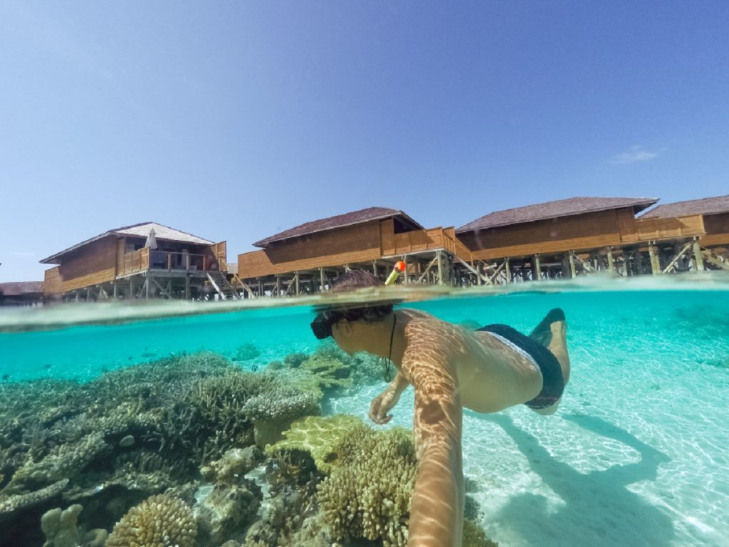 Snorkelling in the Maldives just outside your room.